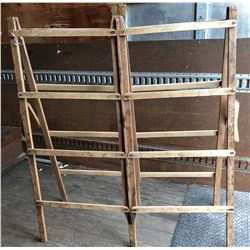 LARGE ANTIQUE WOODEN FOLD OUT DRYING RACK