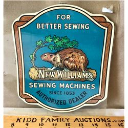 NEW WILLIAMS SEWING MACHINES DEALER'S WINDOW DECAL - MONTREAL