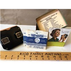SAWYER'S VIEW-MASTER WITH ORIGINAL BOX, PICTURE WHEELS, MANUAL.
