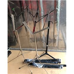 2 X SHEET MUSIC STAND, GUITAR STAND & 2 X INSTRUMENT SLINGS