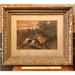 GUIDO VON MAFFEI PRINT - HUNTING DEER IN GILT FRAME