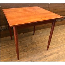 "31"" SQUARE TEAK TABLE W/ 2 LADDER BACK CHAIRS"