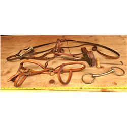SET OF LEATHER HORSE HALTERS