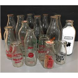 LOT OF 16 VINTAGE MILK BOTTLES W/ SILK SCREEN LABELS