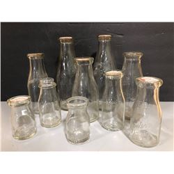 LOT OF 10 MISC MILK & CREAM BOTTLES - ALL EMBOSSED