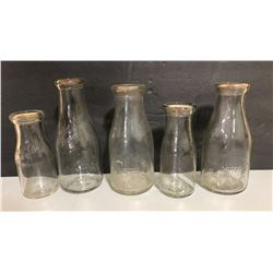 LOT OF 5 OWEN SOUND DAIRY MILK BOTTLES