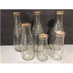 LOT OF 6 ANTIQUE EMBOSSED BARRIE DAIRY MILK BOTTLES