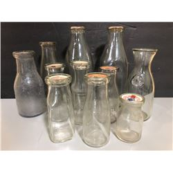 LOT OF 11 MISC MILK BOTTLES