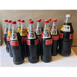 LOT OF 12 + 1 VINTAGE COKE BOTTLES - FULL