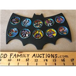 1966 BATMAN COLLECTOR BUTTONS IN DISPLAY