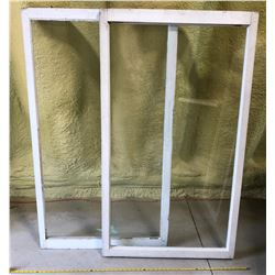 "SET OF 2 OLD WOOD WINDOWS - 31.5"" X 55"" APPROX"
