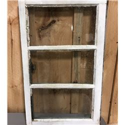ANTIQUE WOOD FRAME WINDOW W/ LATCH