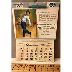 1962 CALENDAR COMPLETE WITH PENCIL, NOTES AREA, RECIPES, TIPS, ETC