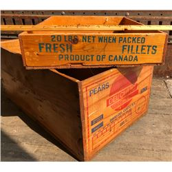 LOT OF 2 FOOD CRATES W/ GOOD DECALS