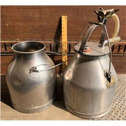 LOT OF 2 STAINLESS STEEL MILK CANS