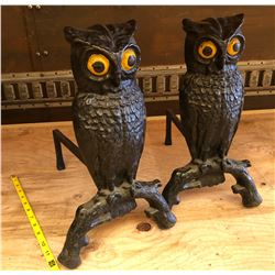 SET OF CAST OWL IMAGE FIREPLACE END IRONS