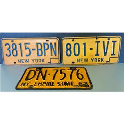 LOT OF 3 NEW YORK LICENCE PLATES
