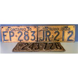 LOT OF 3 ONTARIO LICENCE PLATES