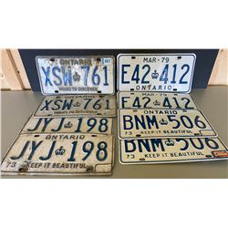 LOT OF 4 PAIRS OF ONTARIO LICENCE PLATES