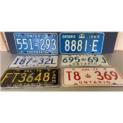 LOT OF 6 ONTARIO LICENCE PLATES