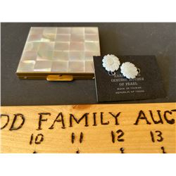 LOT OF 2, MOTHER OF PEARL EARRINGS & COSMETIC CASE