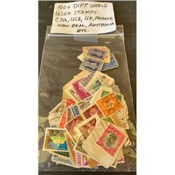 100 + POSTAL STAMPS OF THE WORLD - USED