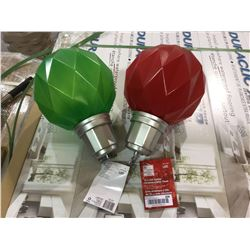 "Home Accents Holiday 13"" LED Jumbo Ornament w/ Timer - Red and Green Lot of 2"