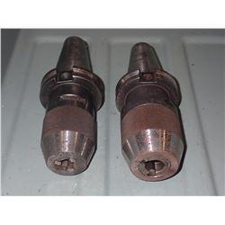 (2) CAT40 Keyless Drill Chucks