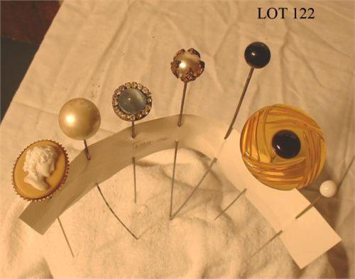 seven vintage hat buttons