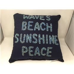 """lot of dark navy blue pillow """"waves, beach, sunshine, peace"""" written with beads on front"""