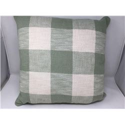 lot of white and green plaid pillow