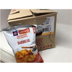 case of 12x66g Circle K barbeque flavored chips