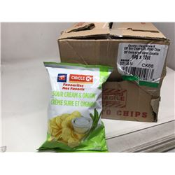 case of 12x66g Circle K sour cream and onion chips