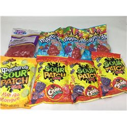 lot of 7x185g and 1x210g sour patch kids crush, mango and tropical flavored and Swedish berries