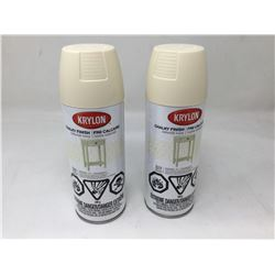 lot of 2x 340g Krylon chalky finish paint, creme white color
