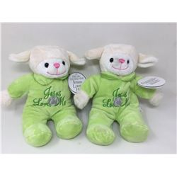 lot of 2x lamb stuffed animals with musical christian song
