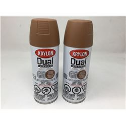 lot of 2x340g Krylon dual paint and primer, brown color