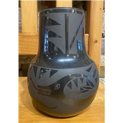 Black Santa Clara Unsigned Jar with Avanyu Design.