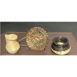 Set of 3 Miniature Tohono O'odham Horsehair Baskets