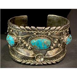 Navajo Morenci Turquoise Bracelet stamped BK