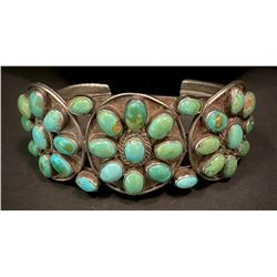 1930's Ingot and Sleeping Beauty Turquoise Cluster Bracelet