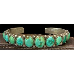 1930's Green Turquoise Row Ingot Bracelet