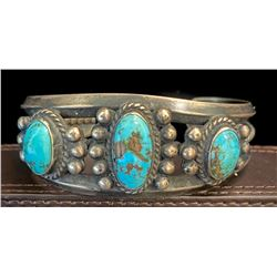 1930's 3 Stone Kingman Turquoise Bracelet