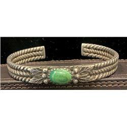 1920's Ingot twisted bracelet with Carico Lake turquoise stone