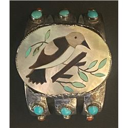 1940's Zuni Inlay Magpie in MOP with Turquoise and Coral Bracelet