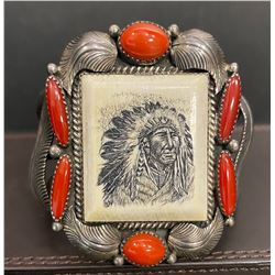 1970's Coral and Scrimshaw Bracelet with Awesome Silverwork by C. Manning