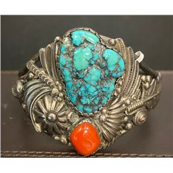 1960's T. Curtis Sr. Spider Web Kingman Turquoise and Coral Bracelet