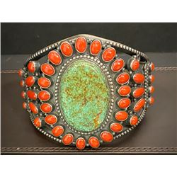 Terry Martinez Green Spider Web Turquoise and Coral Bracelet Cuff