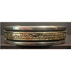 Bruce Morgan Navajo Artist Silver and 14 Karat Gold Storyteller Bracelet
