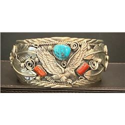 Coral, turquoise and Silver Bracelet by Allen Chee for Running Bear Shop